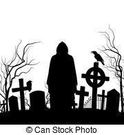 ... Cemetery - Silhouette of the cemetery on the white.