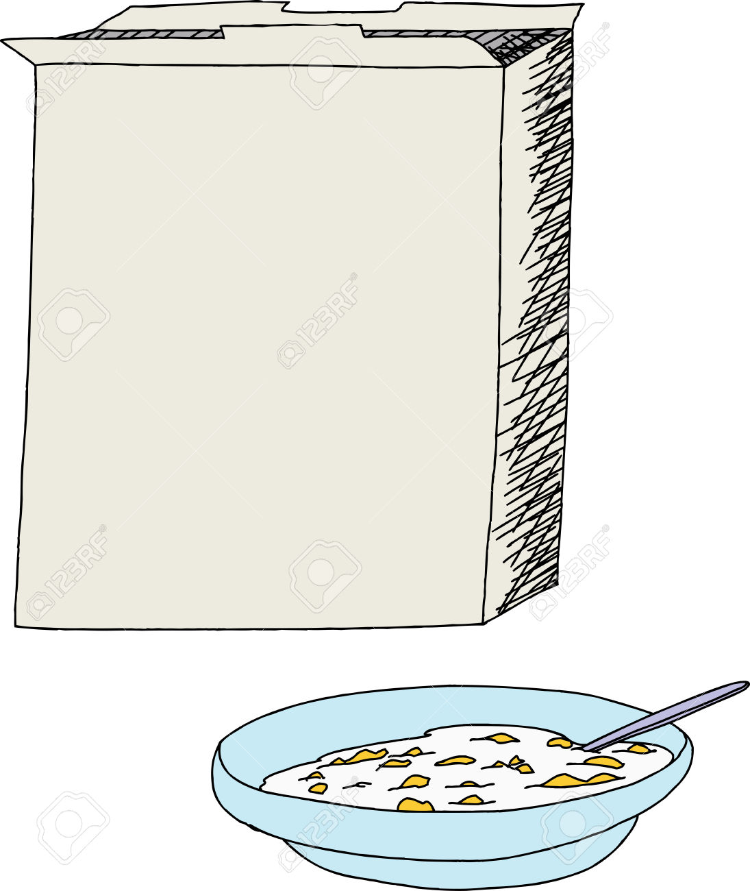 cereal box: Open cereal box with bowl of-cereal box: Open cereal box with bowl of corn flakes over white Illustration-16