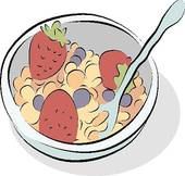 Cereal bowl icon; Bowl of Cereal Line Drawing