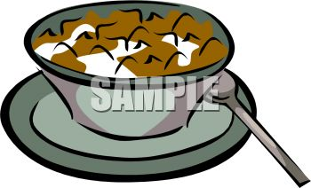 Flake Cereal in a Bowl of Milk Clip Art - Royalty Free Clipart Illustration