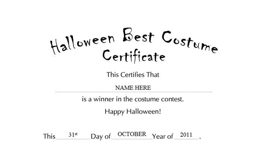 Halloween Best Costume Certificate Clip Art u0026 Wording