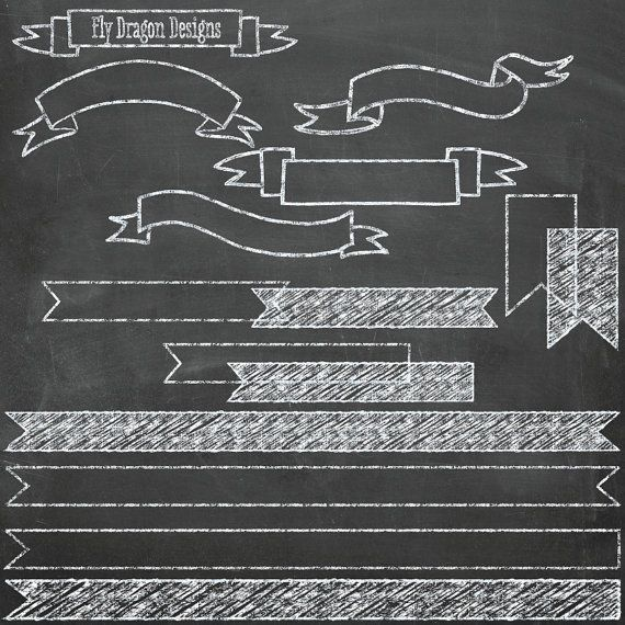 Chalk Banners Clip Art and .