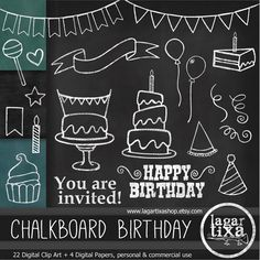 Chalkboard Birthday Party Clip .