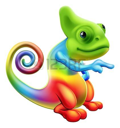 Illustration of a cartoon rainbow chameleon mascot standing and pointing  Illustration