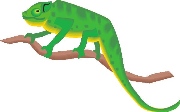 Chameleon On A Branch Clip Art