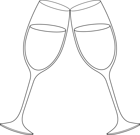 Champagne Glasses Outline .