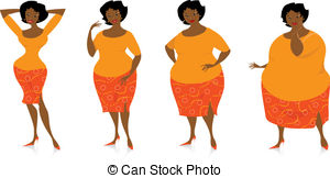 ... Changes of size after diet - Vector illustration of four.