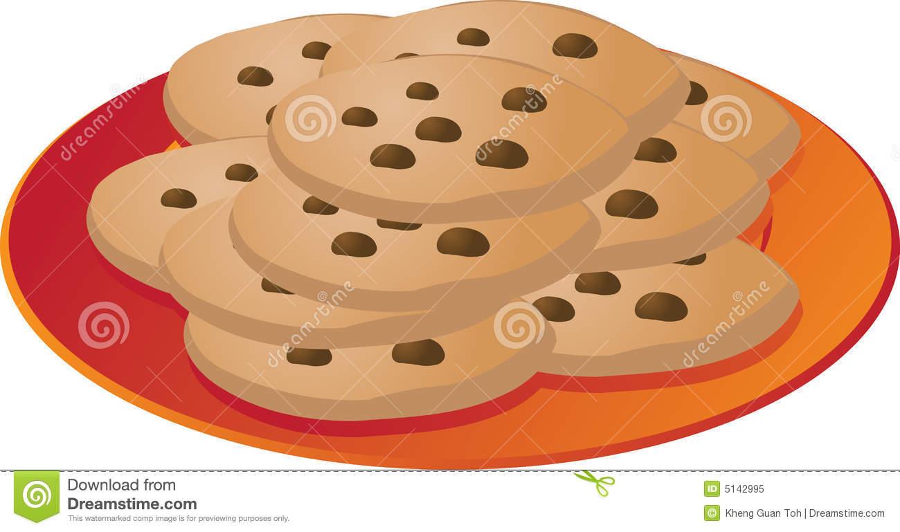 Chcocolate Chip Cookies On Plate Illustr-Chcocolate Chip Cookies On Plate Illustrationvector Illustration-2