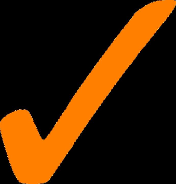 Check, Correct, Tick, Sign, Mark, Orange
