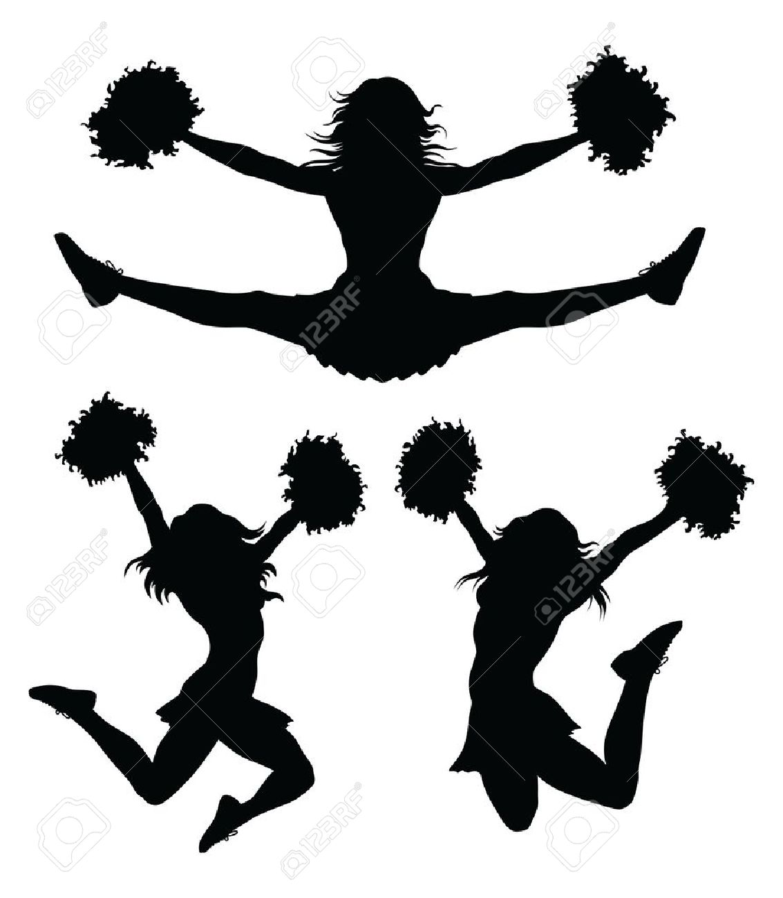 Cheer Jumps Silhouette Clipart