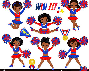 Cheerleader Digital Clipart Set for -Personal and Commercial Use-paper  crafts,card making