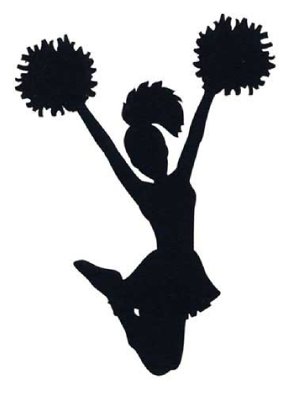 FREE cheer sillohette clip art black and white | Cheerleader clip art -  vector clip art