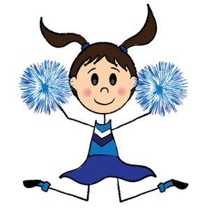Cheerleader Clipart Image Cute Cheerleader Girl With Pom Poms Jumping
