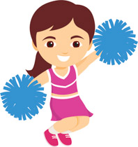 Cheerleader jumping in the air holding b-Cheerleader jumping in the air holding blue pom pom clipart. Size: 115 Kb-15
