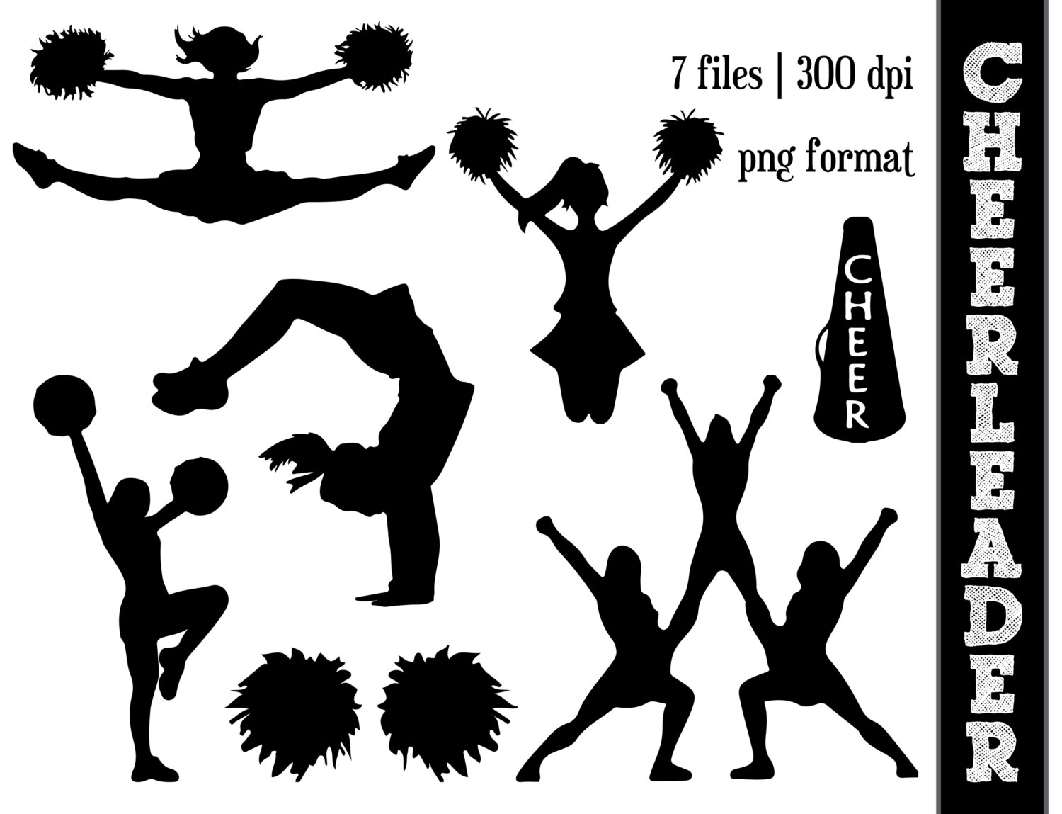 Cheerleader Silhouettes // Cheer Silhoue-Cheerleader Silhouettes // Cheer Silhouette // Cheering Clipart // Athletic, Athlete Silhouettes // Pom Poms-11