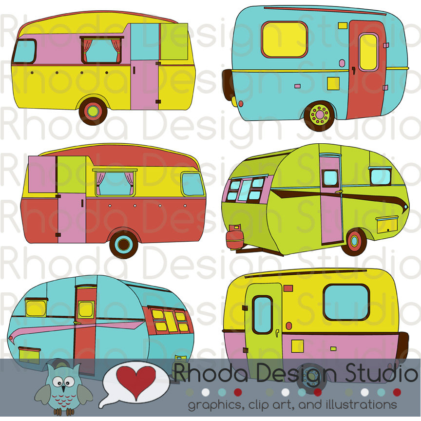 Cheery Sherbet Campers Digital Clip Art Retro Camp Trailers