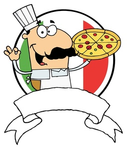 Chef Clipart Image: An Italian Chef Hold-Chef Clipart Image: An Italian Chef Holding up the OK Sign and a Pizza With-3