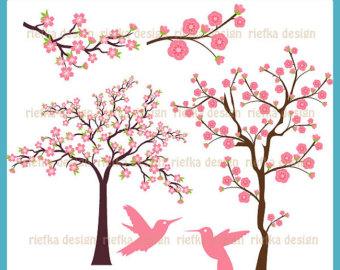 Cherry Blossom Trees Digital Clip Art