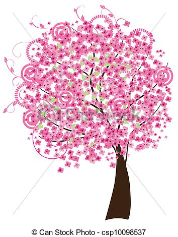 ... cherry blossom - vector cherry tree in blossom