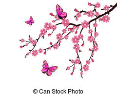 ... cherry blossom - vector illustration-... cherry blossom - vector illustration of a branch with cherry... cherry blossom Clipartby ...-5
