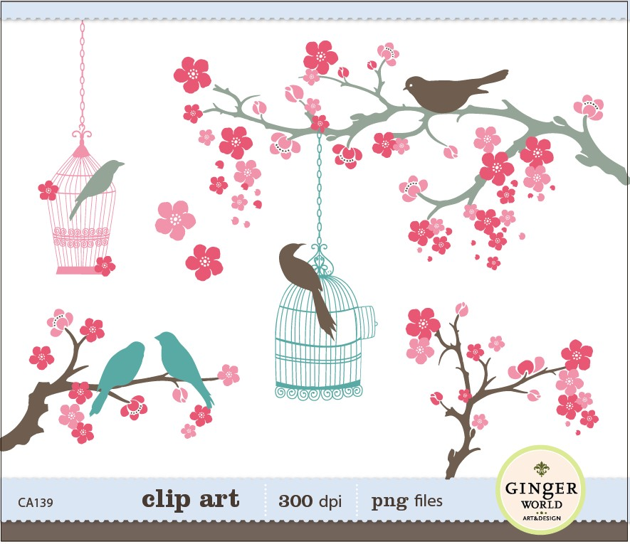 Cherry Flower Birds Clipart .