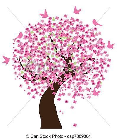 ... Cherry Tree - Vector Illustration Of-... Cherry tree - Vector illustration of a cherry tree with.-14