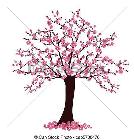 ... Cherry Tree - Vector Illustration Of-... cherry tree - vector illustration of many cherry blosoms on... ...-15