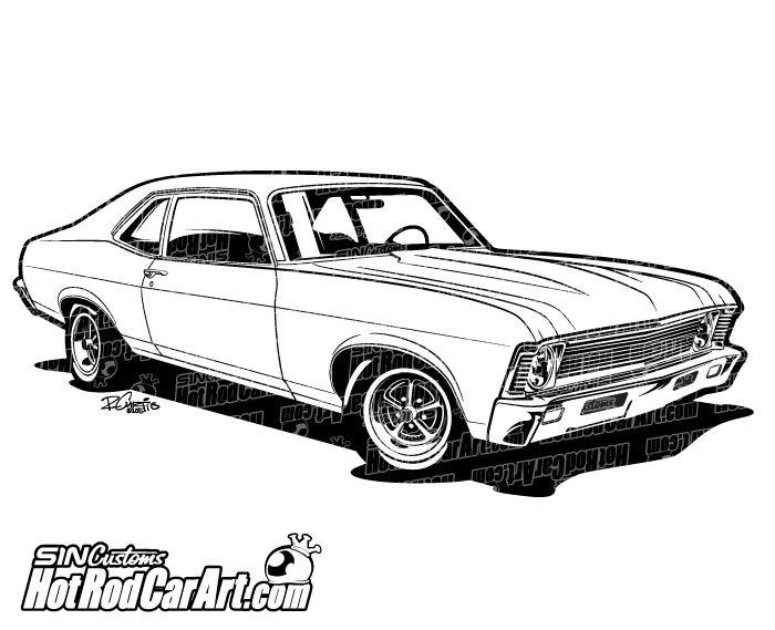 1969 Chevrolet Nova Muscle Car - Clip Art