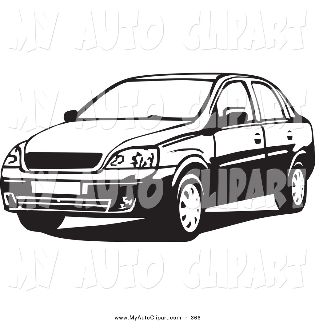 Clip Art of a Sporty Black and White Chevrolet Corsa Sedan Car