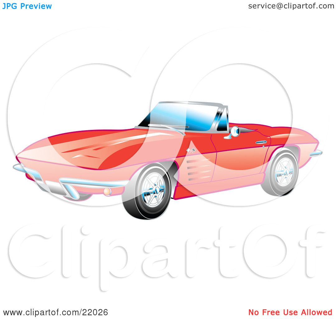 Clipart Illustration Of A Red 1963 Conve-Clipart Illustration Of A Red 1963 Convertible Chevrolet Corvette With The  Top Down And Crome Bumpers-18