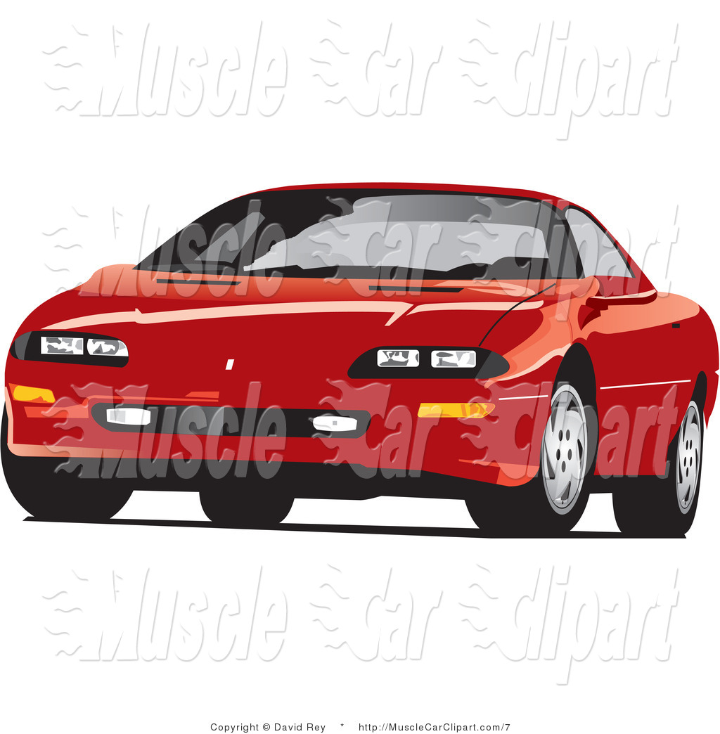 Vector Automotive Clipart of a Red Chevrolet Camaro
