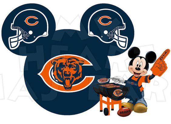 Chicago Bears Football With Mickey Mouse-Chicago Bears football with Mickey Mouse INSTANT DOWNLOAD digital clip art :: My Heart Has Ears-6