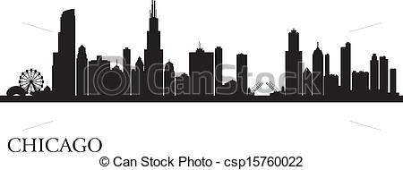 ... Chicago city skyline silhouette background. Vector.