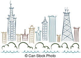 ... Chicago Skyline - Cartoon line drawing of the city of.