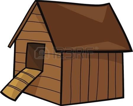 Chicken House: Cartoon Illustration Of F-chicken house: cartoon Illustration of farm hen house-11