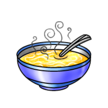 Chicken noodle soup cartoon clipart kid