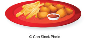 Chicken nuggets Vector Illustrationby catary0/2; fingerchips and bread cubes - illustration of fingerchips... ...