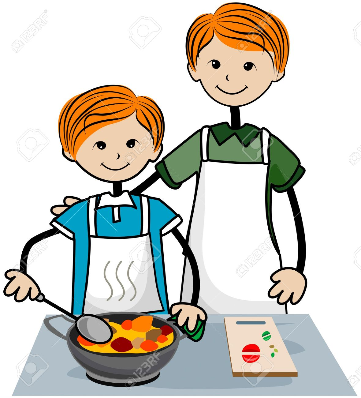 Child And Father Cooking With .-Child And Father Cooking With .-1
