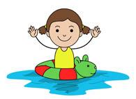 child in swimming pool in animal inner tube. Size: 52 Kb