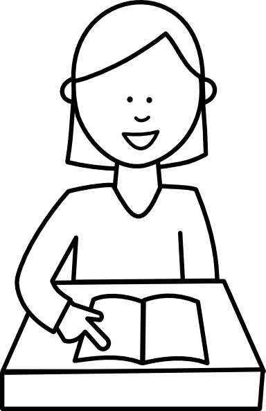 Child Reading Clipart Black And White Student Reading Hi Png