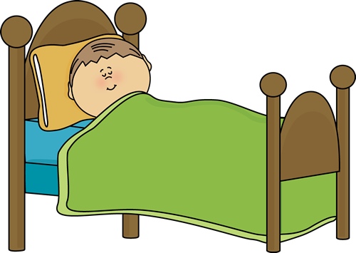 Child Sleeping Clip Art Image - child sleeping in a bed.