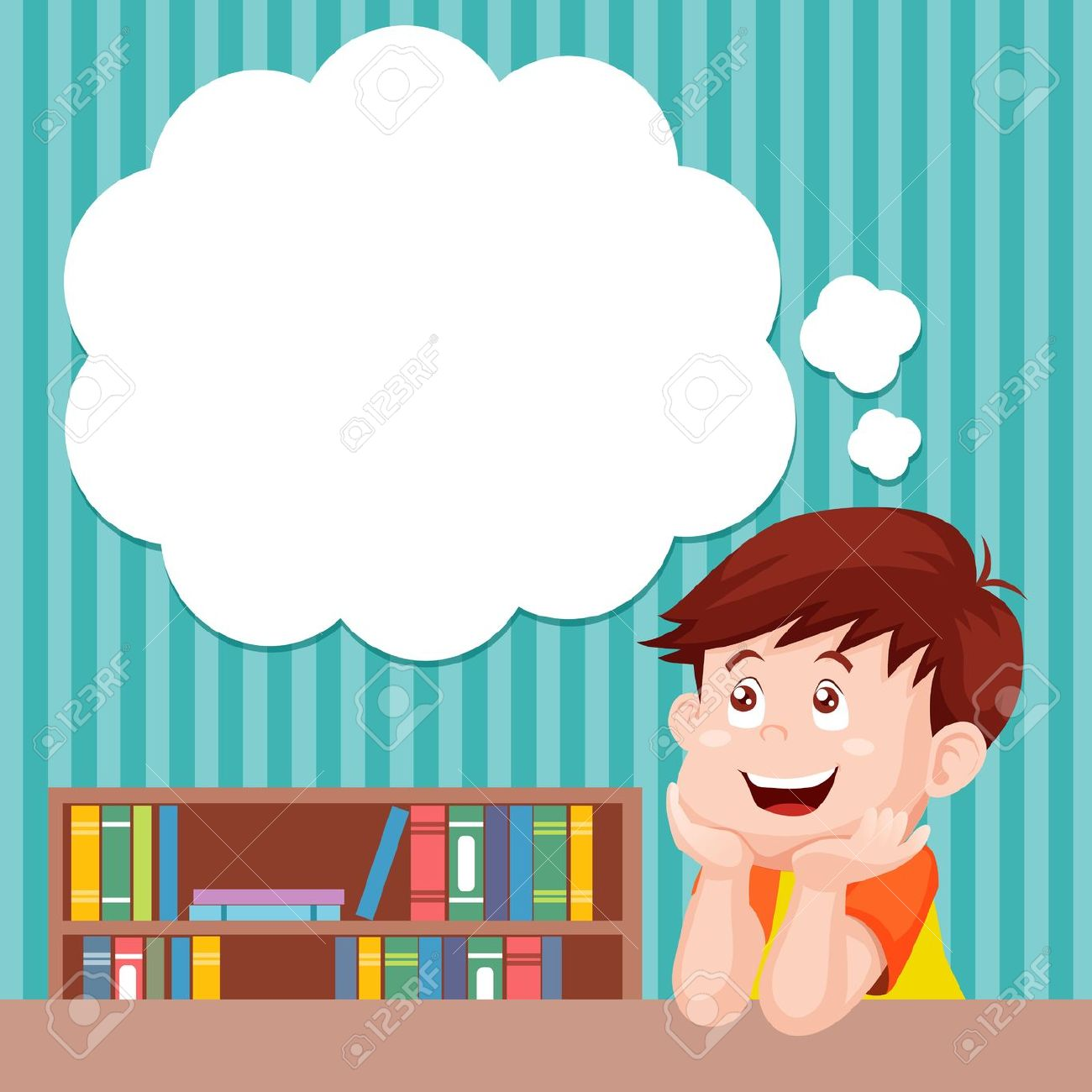 Child Thinking Clipart #14278. Cartoon Boy Thinking With White Bubble For Text Royalty Free