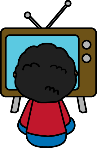 Child Watching TV - Television Clip Art