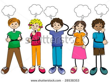 children thinking clipart
