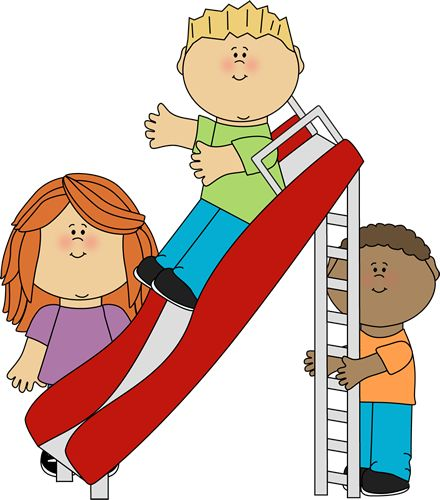children at play clip art | Kids Playing on a Slide Clip Art Image - kids