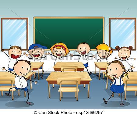 ... Children dancing inside the classroom - Illustration of.