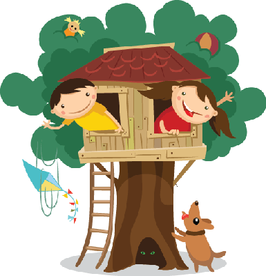 Children Having Fun in The Tr - Tree House Clip Art