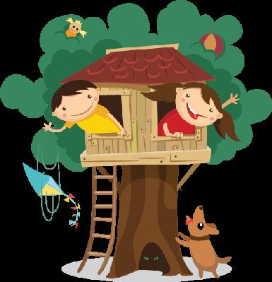 Children Having Fun in The Treehouse | C-Children Having Fun in The Treehouse | Clipart-8