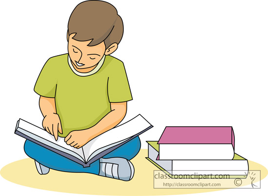 Children Reading Books Clip Art