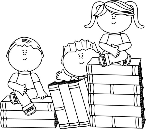 Children reading clip art black and white
